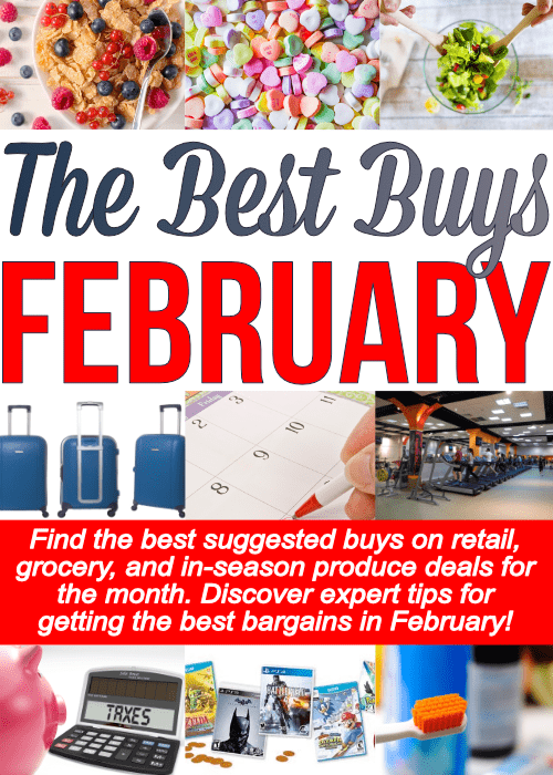 Epic list of What To Buy When, specifically what to buy in February. Find the best buys to pick up this month on retail, grocery and in-season produce. Continue the year saving the most money possible!