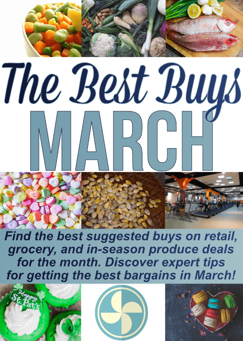 Epic list of What To Buy When, specifically what to buy in March. Find the best buys to pick up this month on retail, grocery and in-season produce. Continue the year saving the most money possible!
