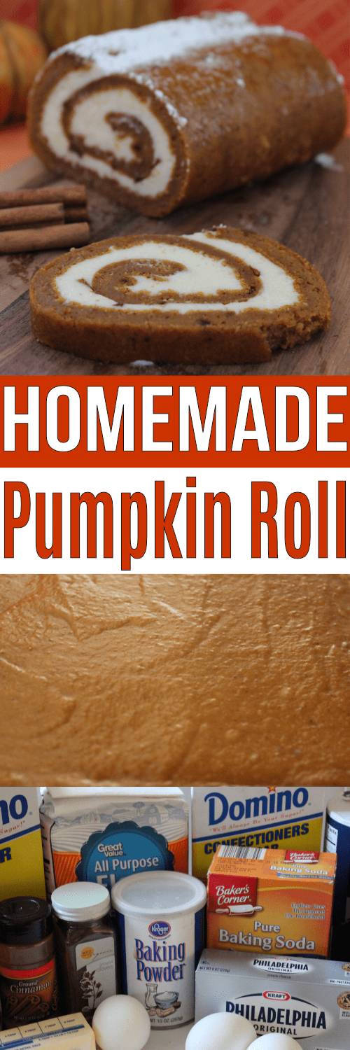 This pumpkin roll recipe is a classic! Add this to your list for holiday baking!