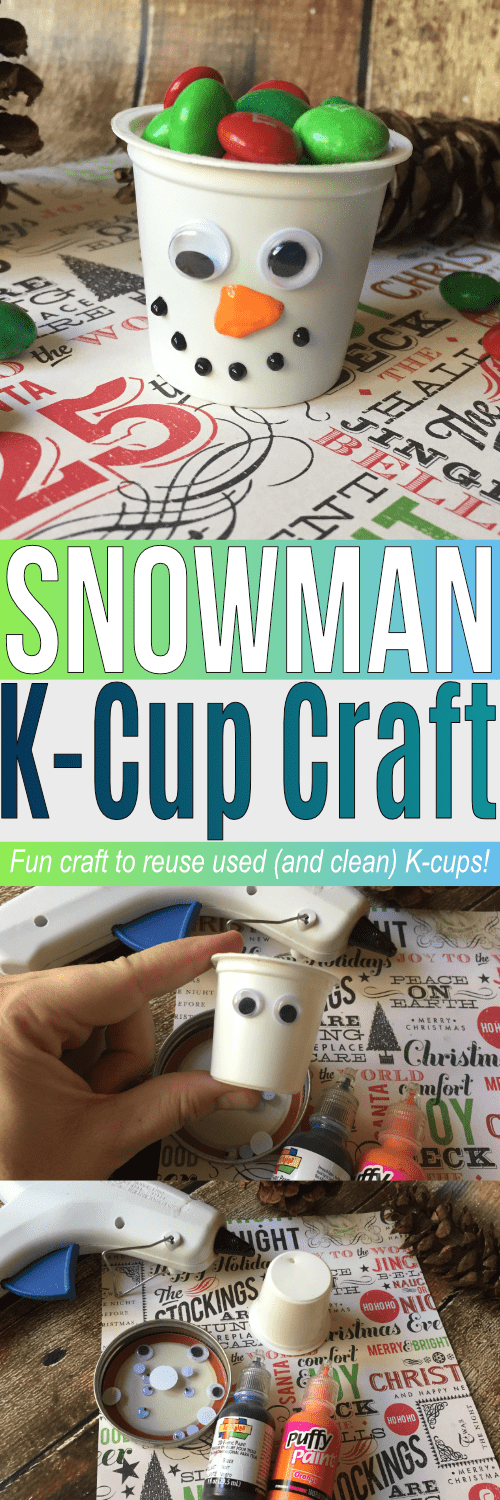Reuse K-cups and make this adorable Snowman K-cup craft. If you're like me and looking for uses for k cups, this craft is a great one to make with the kids!