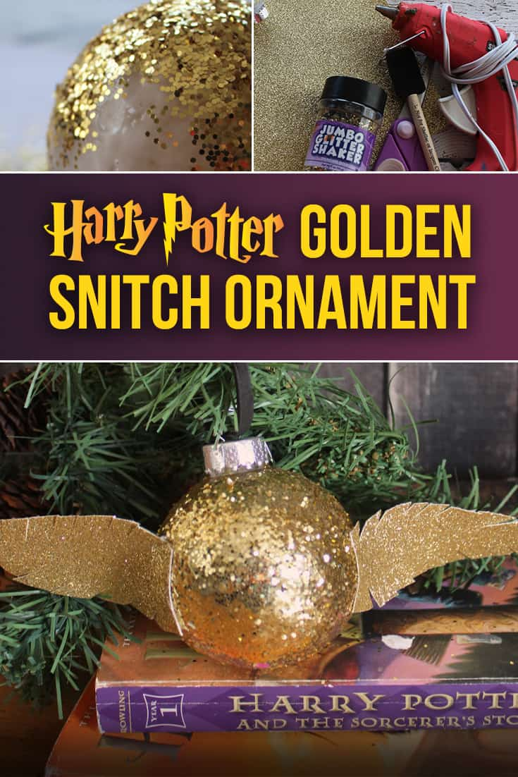 Try this easy DIY Harry Potter Quidditch Golden Snitch for your Christmas tree this holiday season! via @AndreaDeckard