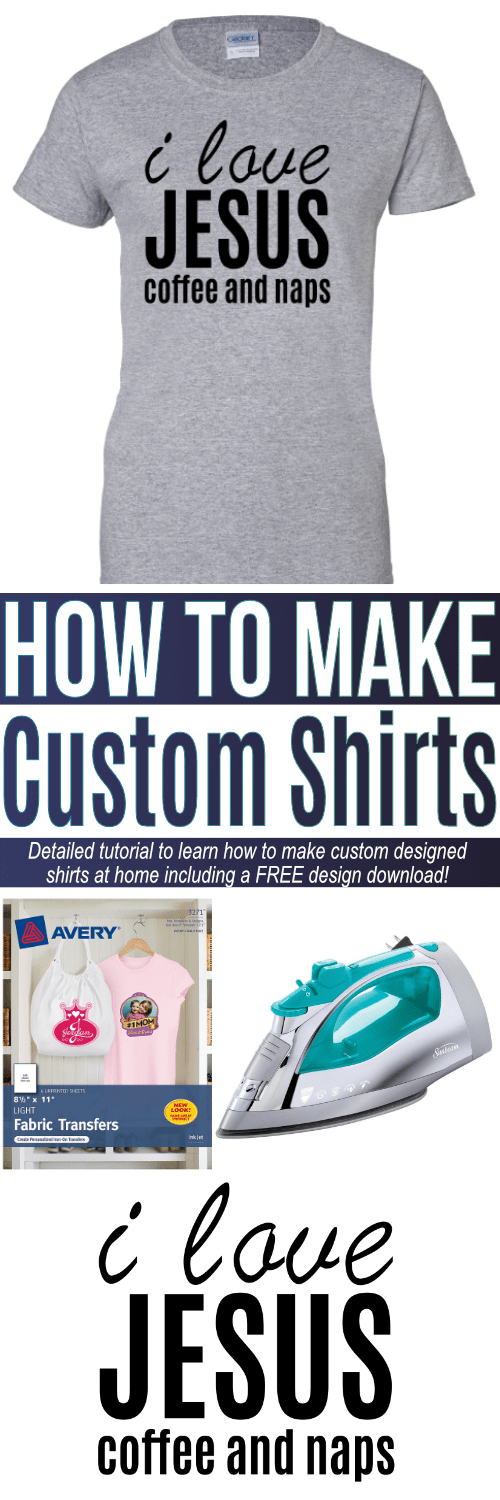 Learn how to make custom shirts at home with just an iron and printer. Detailed step-by-step tutorial that includes a FREE design download to get started.