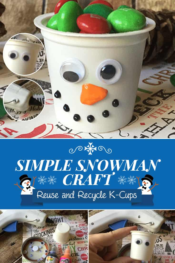 Reuse K-cups and make this adorable Snowman K-cup craft. If you're like me and looking for uses for k cups, this craft is a great one to make with the kids! via @AndreaDeckard