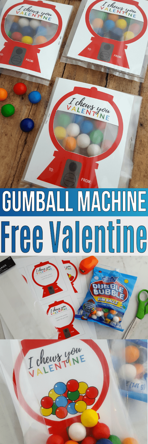 Looking for free valentine cards? This kids valentine card with gumballs, a few supplies, and this free valentine card printable is easy for the kids to make by themselves!