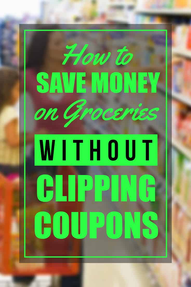 How to save money on groceries without clipping coupons! Grocery shopping can be quick, easy and frugal with these tips!