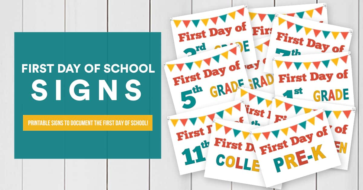 photograph regarding First Day of School Sign Printable named Initial Working day of College Printable Symptoms