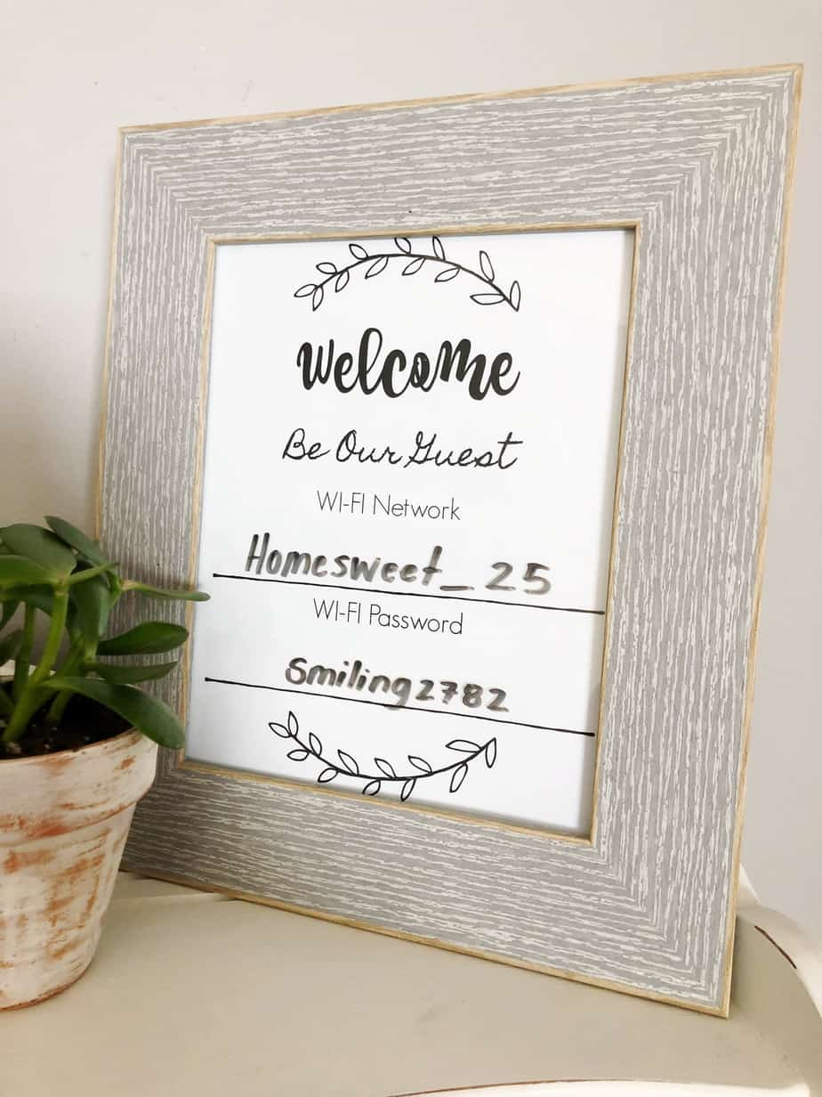 This printable WiFi password sign is free to download and will be appreciated by many guests in your home! Print the sign, add your WiFi Network and Password, and display for visitors!