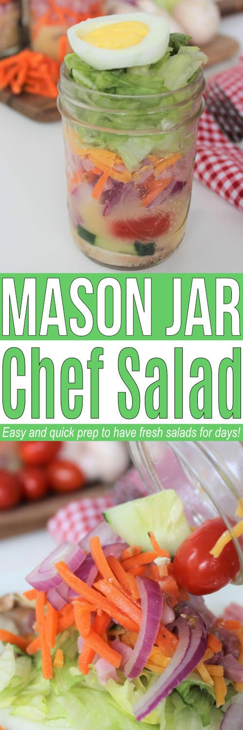 Mason jar salads are a quick and easy meal option! Make a big batch so your family can have healthy mason jar salads for a week! via @AndreaDeckard