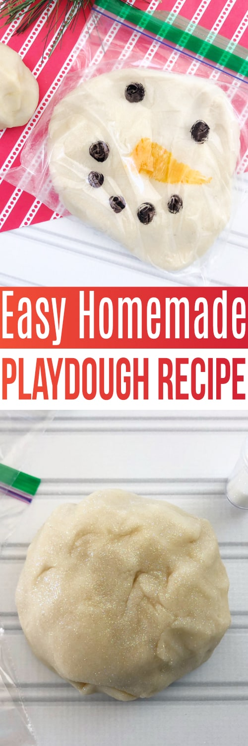 This easy homemade playdough recipe is one that you will keep coming back to time and time again! Great to make in advance and use as a craft for classroom parties, or just to make at home to keep your kids' using their imagination to make fun creations!