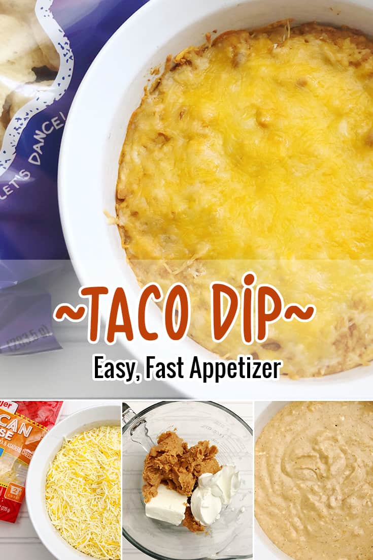This taco dip recipe is super simple! We include refried beans but you can easily leave this out or add ground beef. Layer it up, or mash it all together. Either way, it tastes delicious! via @AndreaDeckard